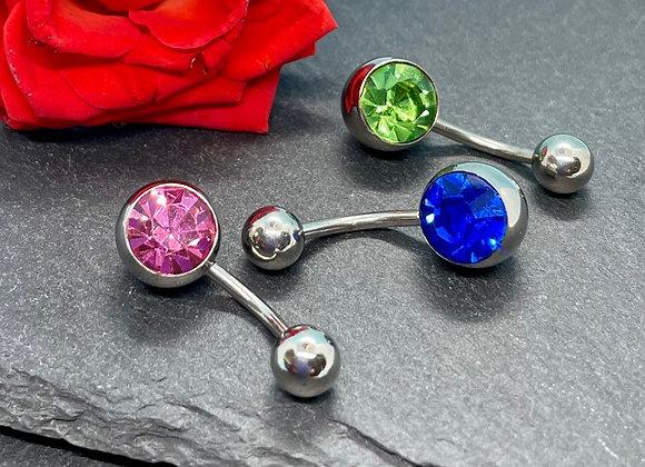 Piercing Navel Jewellery 3 Pcs. Pink, Blue, Green