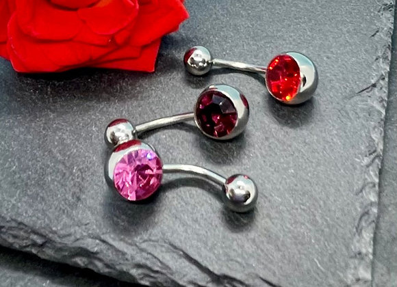 Piercing Navel Jewellery 3 Pcs. Red, Pink, Purple