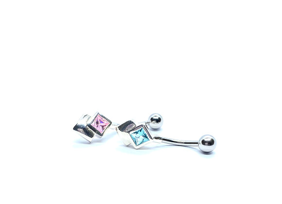 14g Navel Stud 1Square Crystal