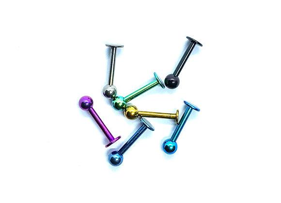 14g Labret Stud Titanium 10mm