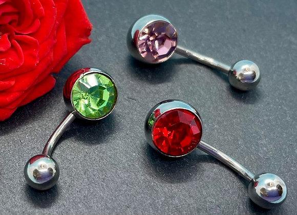 Piercing Navel Jewellery 3 Pcs Red, Green, Lavender