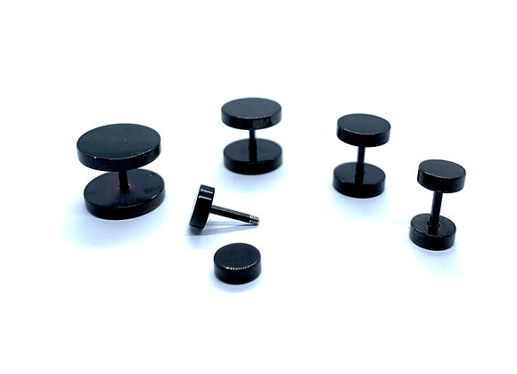 18g  Ear Plug Stainless Black Steel