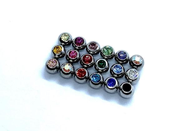 Ball 14g 4mm 316 Steel Crystal
