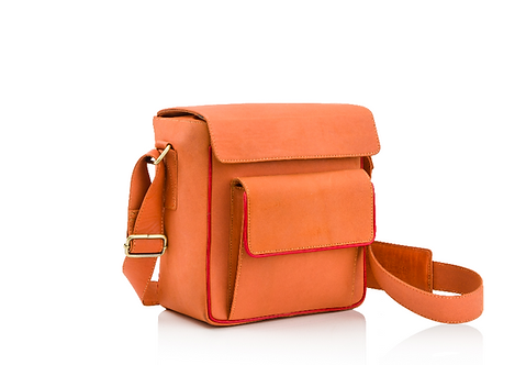 'Peach/Coral' Leather Camera/Travel Bag
