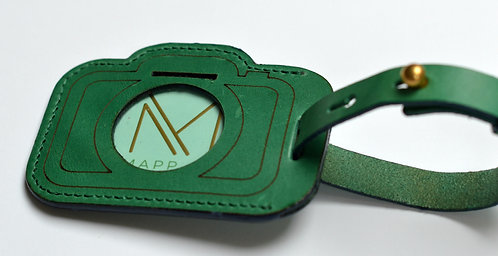 Green Leather Luggage Tag