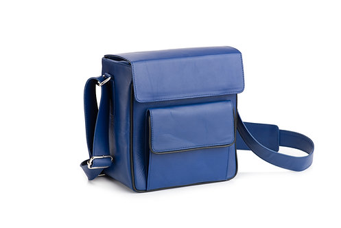 Cobalt Blue Leather Camera/Travel Bag