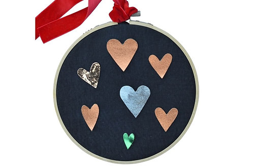 Upcycled Heart Valentines Embroidery Hoop: Kit