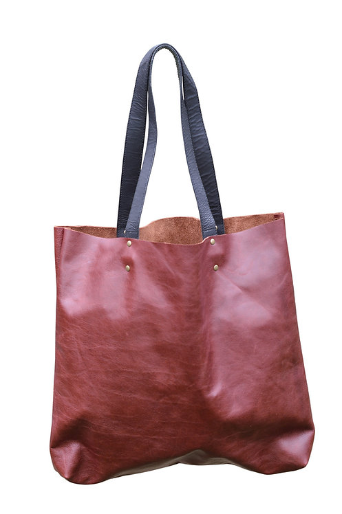 Oxblood Red Leather Tote Bag