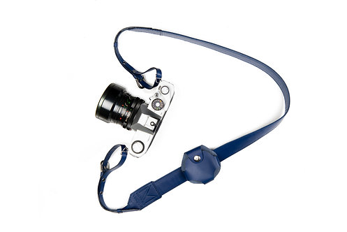 Cobalt Blue Leather Camera Strap