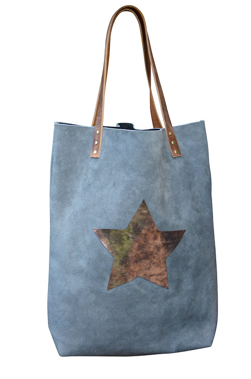 Grey Suede Leather Tote Bag