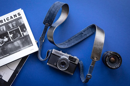 Gun Metal Grey Leather Camera Strap