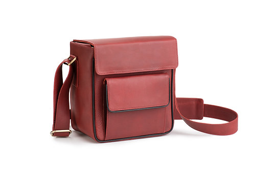 Red Leather Camera/Travel Bag