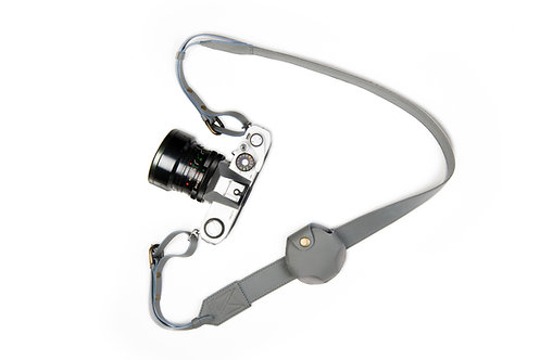 Grey Leather Camera Strap