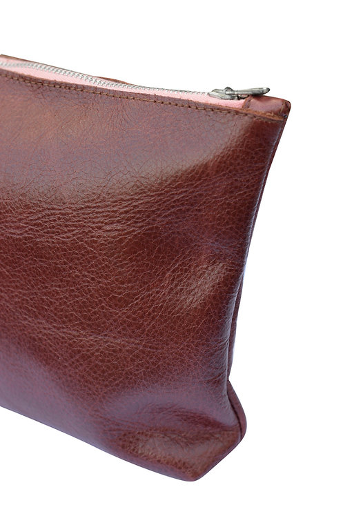 Oxblood Red Leather Purse (Pink Zip)