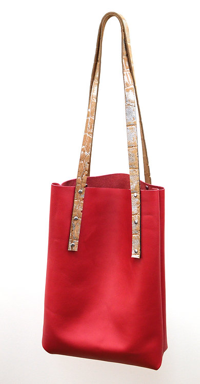 Coral Leather Tote Bag