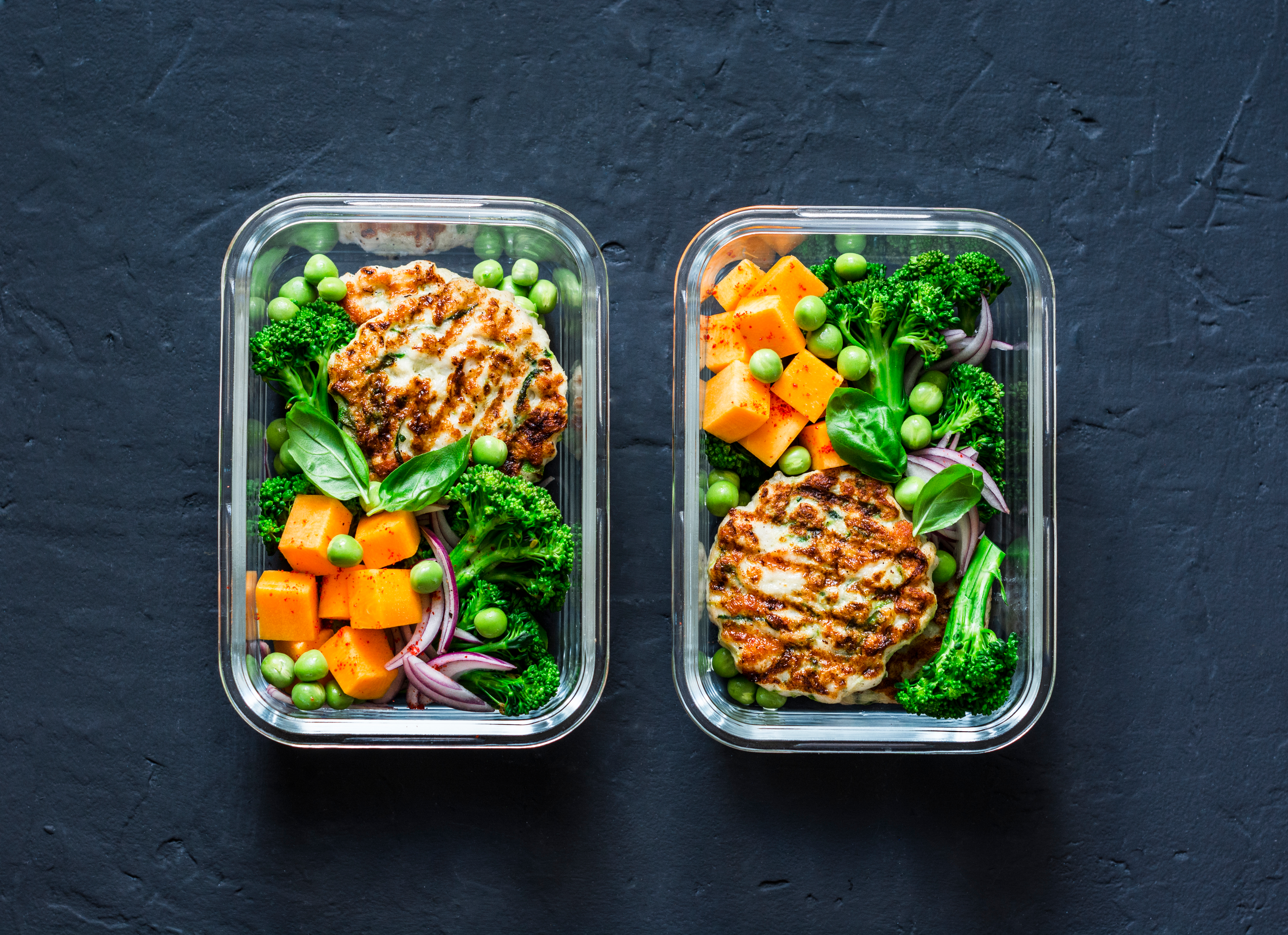 Healthy balanced lunch box. Grilled chic