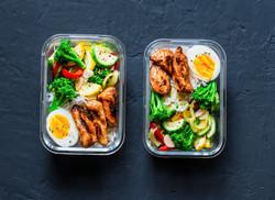 Rice, stewed vegetables, egg, teriyaki c