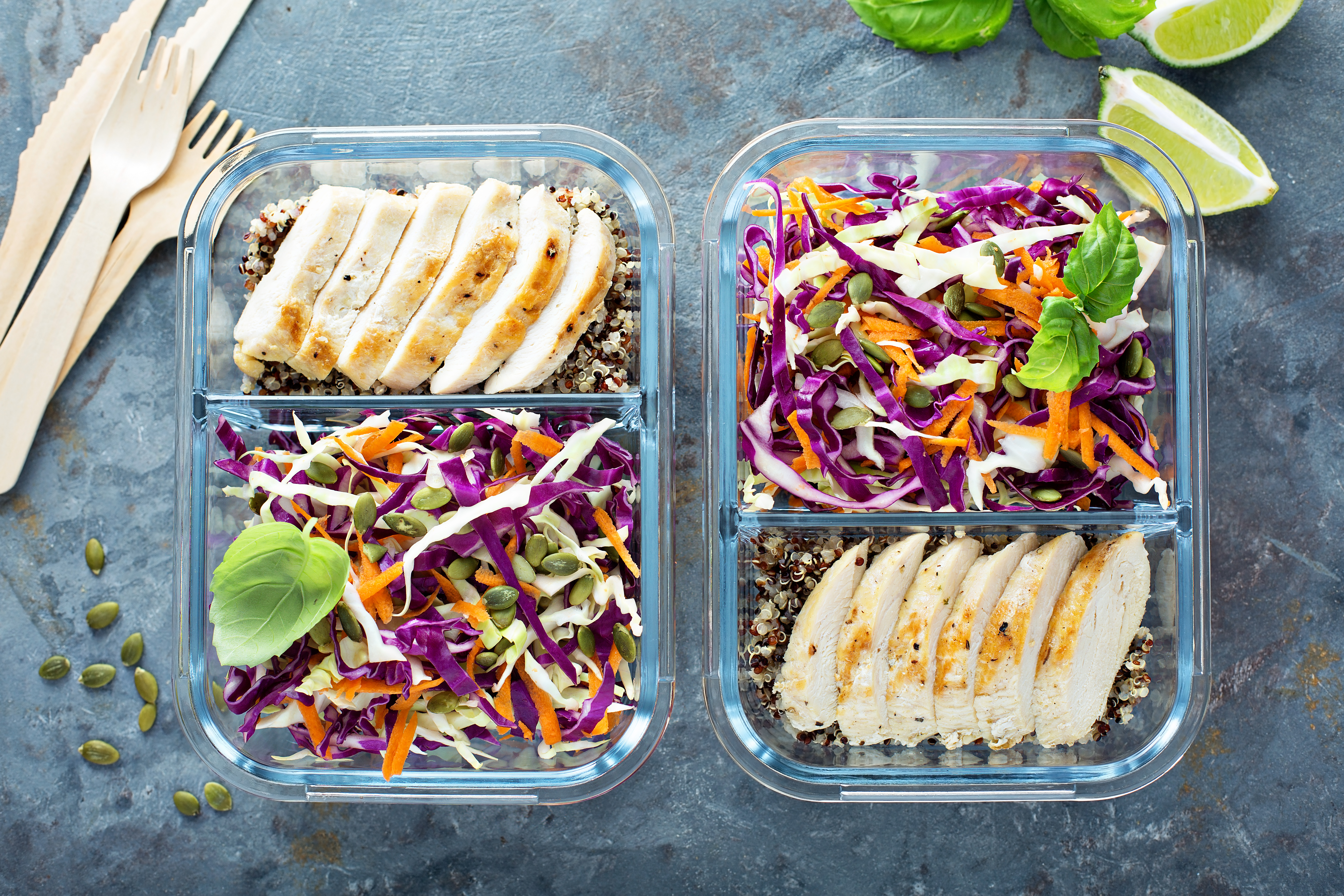 Healthy meal prep containers with quinoa