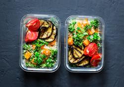 Vegetarian lunch box. Broccoli, pumpkin,