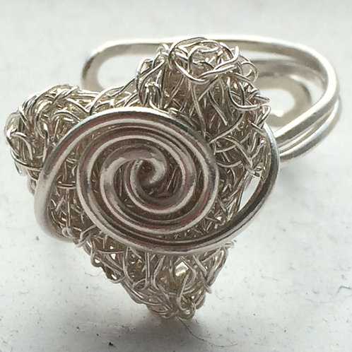 Silver knitted heart adjustable ring