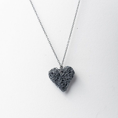 Oxidised knitted heart necklace