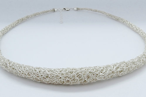 Silver knitted rolled necklace