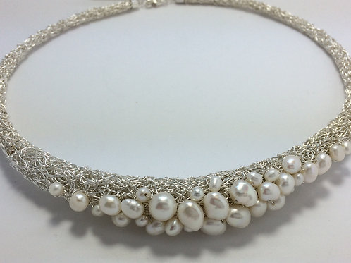 Sterling silver and fresh water pearl rolled necklace