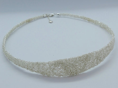 Sterling silver flat knitted necklace