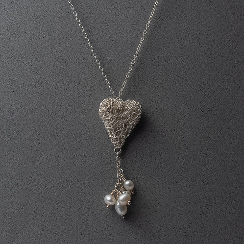 Sterling silver knitted heart with drop pearl cluster