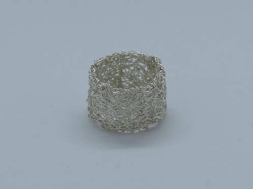 Sterling Silver knitted ring
