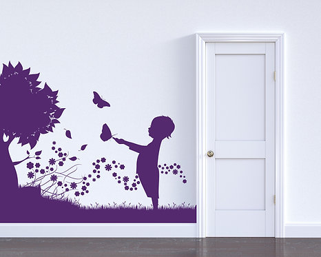 """Tree and Grass with Boy and Butterfly Decal 48"""" x 40"""""""