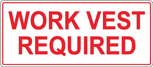 Pack of 10 - Work Vest Required Decal