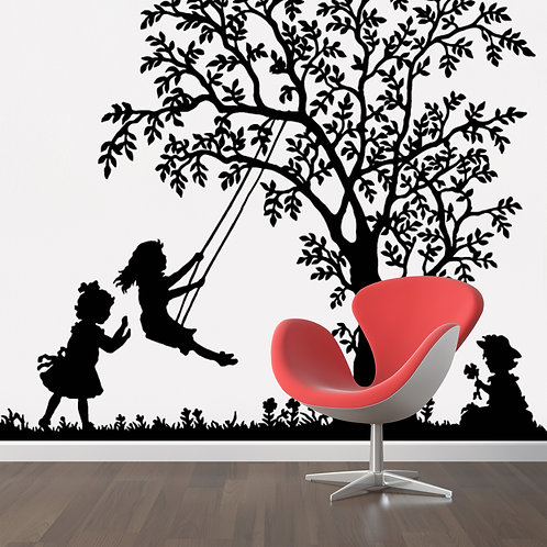 """Tree with Girls Swinging Decal 48"""" x 40"""""""