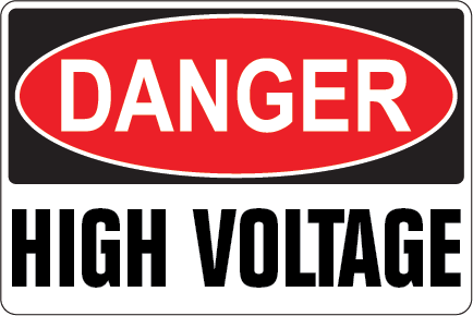 Pack of 10 - Danger High Voltage Decal