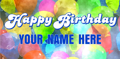 Happy Birthday Banner with Watercolor Balloons
