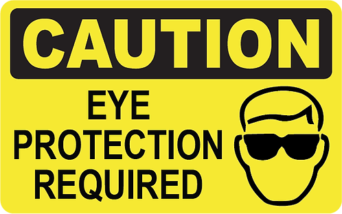 Pack of 10 - Caution Eye Protection Required Decal
