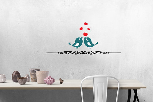 Love Birds with Four Hearts Decal