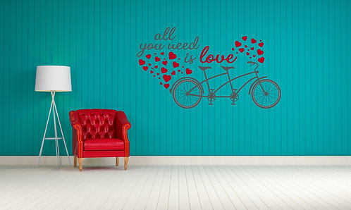 "All You Need is Love Wall Decal 21"" x 36"""