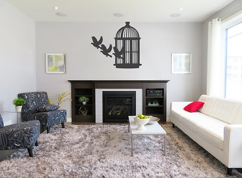 Three Birds Flying Out of Cage Decal