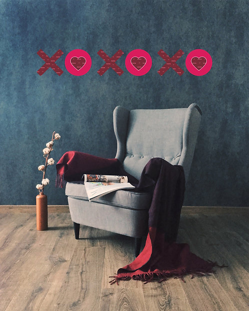 XO with X-Heart Pattern Wall Decal