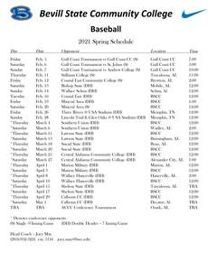 Bevill State Baseball 2021 Spring Schedule