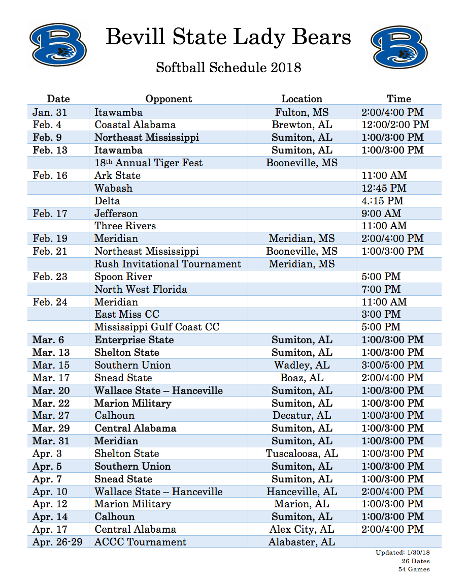 Bevill State 2018 Softball Schedule