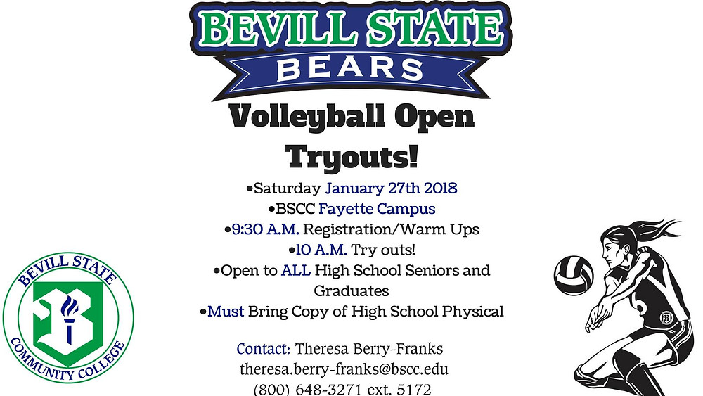 Bevill State Volleyball Open Tryouts graphic