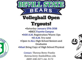 Bevill State Volleyball Tryouts - Jan. 27th