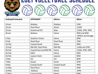 Bevill State Volleyball 2021 Spring Schedule