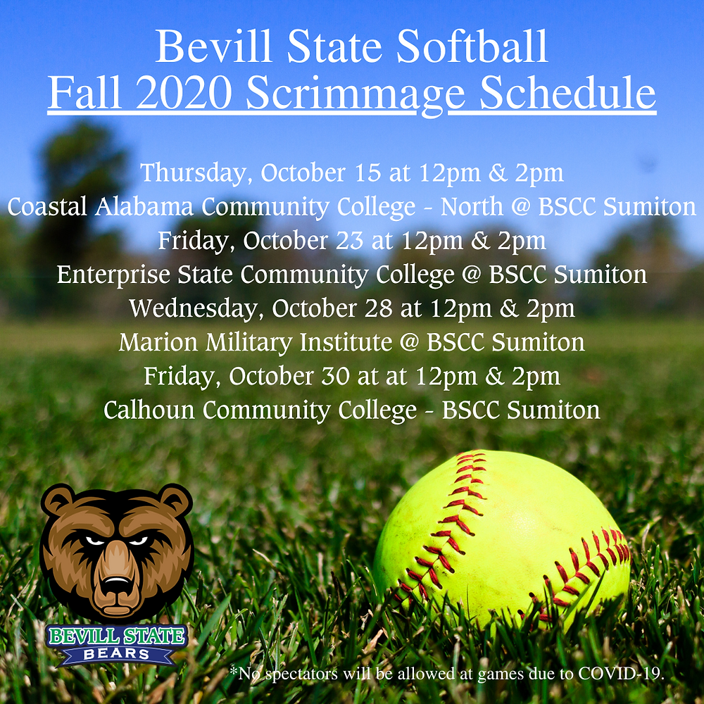 Bevill State Softball Fall 2020 Scrimmage Schedule Image