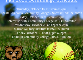 Bevill State Softball - Fall 2020 Scrimmage Schedule