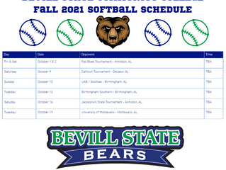 BSCC Fall 2021 Softball Schedule