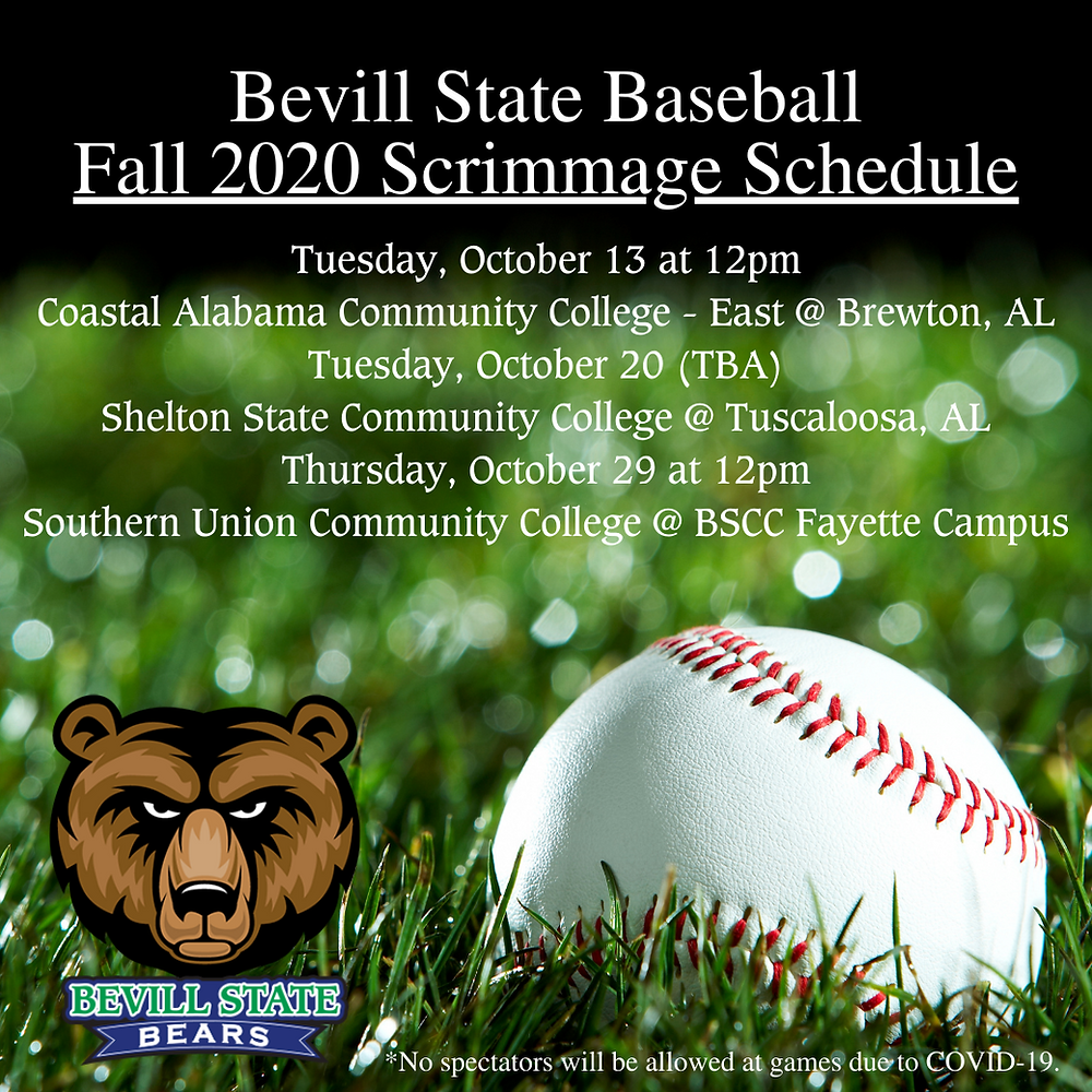 Bevill State Baseball Fall 2020 Scrimmage Schedule Image
