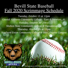 Bevill State Baseball - Fall 2020 Scrimmage Schedule